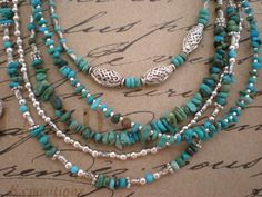 Layering, turquoise, sterling, pewter, and/or Tibetan silver alloy.  Each is a single necklace sold separately.  wear one or wear a stack!