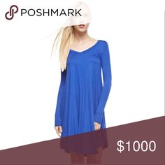 Coming Soon ~Arrives this Week Like to be Notified Stunning Fall Royal Blue V Neck Longsleeve Flared Tunic Boho Dress. Material: 95% Rayon 5% Spandex. Made in the USA. No Trades. Price is firm unless bundled. 10% off 2 or more items or 20% 3 or more items. GlamVault Dresses Long Sleeve