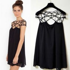 Women Asymmetric Cutouts Multi Straps Shoulder Chiffon Dress Black - CLOTHING
