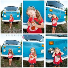 Blue Volkswagen Bus Photo session