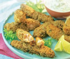 Baked salmon fish fingers with homemade tartare sauce, by Lorraine Pascale | ASDA Recipes... Lorraine Pascale's salmon fish finger recipe is served with a delicious homemade tartare sauce, which is perfect for dipping...