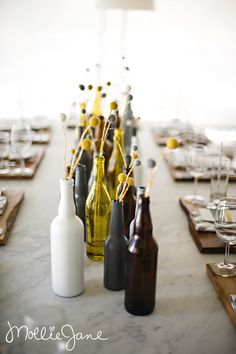 painted beer bottles ~ cute for rehearsal supper
