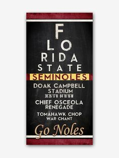 "Florida State University FSU Seminoles inspired ""Eye Chart"" ART PRINT, Sports Wall Decor, man cave gift for him, Unframed"