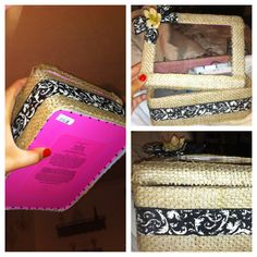 Black and burlap DIY recovered old boxes for organizers