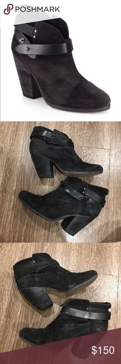 """Rag and Bone Harrow Suede Booties Iconic Rag and Bone Booties in Black Suede. These babies have been loved but well taken care of. I just don't wear them anymore, unfortunately, so my loss is your gain. These retail for $495 and I paid full price for them 3 years ago. 3"""" heel. Size 37 1/2. I am between a 7 and a 7 1/2 and these fit me perfectly without a sock. rag & bone Shoes Ankle Boots & Booties"""