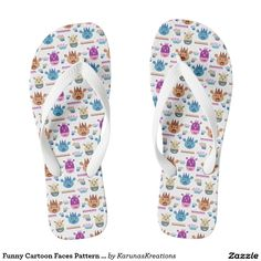 Funny Cartoon Faces Pattern Flip Flops