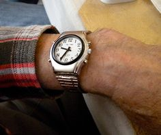 A large number talking wrist watch makes it easy to tell time for those with macular degeneration.