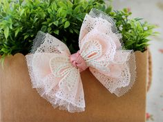 tulle lace bow clip