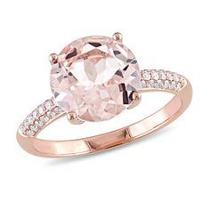 10.0mm Morganite and 1/5 CT. T.W. Diamond Engagement Ring in 14K Rose Gold