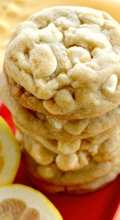 White Chocolate Chip Cookies Lemon White Chocolate Chip Cookies That Are Soft, Chewy, Super Buttery With Crispy Edges! Ah YUM!Lemon White Chocolate Chip Cookies That Are Soft, Chewy, Super Buttery With Crispy Edges! Ah YUM! Lemon Desserts, Lemon Recipes, Cookie Desserts, Just Desserts, Sweet Recipes, Cookie Recipes, Delicious Desserts, Dessert Recipes, Yummy Food