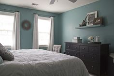 Love the colour but would have one wall this colour and the rest light grey