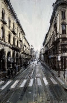 "Valerio D'Ospina, ""Via Roma"" - 18x12, oil on canvas--at Principle Gallery"