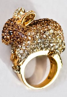 not typically a fan of this crystal-pavé, animal-on-a-ring trend, but i mean, hello...it's a bunny! megan fabulous, bunny ring, $79.