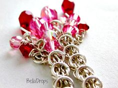 Pink and Red Swarovski Crystal #Chainmaille Drop by BellaDrops