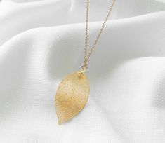 2a797030d4f Leaf Pendant Necklace, Gold Leaf Necklace, Long Necklace, Womens Gift, Gold  necklace, Handmade Jewelry