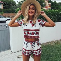 Simplee Elegant jumpsuit romper two-piece suit Boho chic flower playsuit women Summer style overall Casual beach leotard