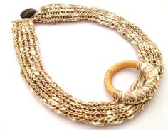 Linen knotted #necklace ecofriendly gift for her natural #handknitted #madeinitaly