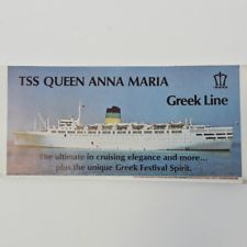 Vtg TSS Queen Anna Maria TSS Olympia Greek Line Brochure & Deck Plan