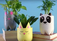 Introduction: These cute Animal Planters are made of recycled plastic bottles and some simple materials. Plastic Bottles are often thrown away and this is waste full. These animal planters a… Plastic Bottle Planter, Reuse Plastic Bottles, Plastic Bottle Crafts, Diy Bottle, Recycled Bottles, Water Bottle, Kids Crafts, Diy Home Crafts, Recycled Planters