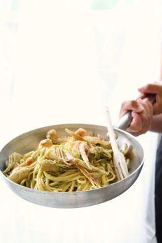 Basilicum: Linguine in Crema di Scampi e Zucchine