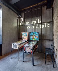 A retro pinball machine seems very appropriate. Probable not in the budget but it's inspiration. Dogs&Tails Bar and Café in Kiev, Ukraine by Sergey Makhno Architects Game Cafe, Garage, Metal Pipe, Cafe Interior, Flat Interior, Interior Ideas, Interior Design, Tap Room, Beer Bar