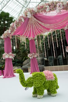 Indian Wedding Mandaps | Event Decorators : Occasions By Shangri-la, floral wedding mandap, wedding decor, indian elephant