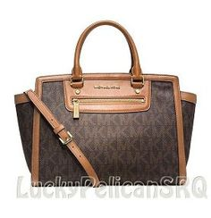 Save on the Michael Kors Selma Large Monogram Logo Top Tote Brown Signature Pvc Leather Satchel! This satchel is a top 10 member favorite on Tradesy. Michael Kors Selma, Michael Kors Outlet, Handbags Michael Kors, St Michael, Brown Satchel, Leather Satchel, Boutique Michael Kors, Handbag Stores, Victorian