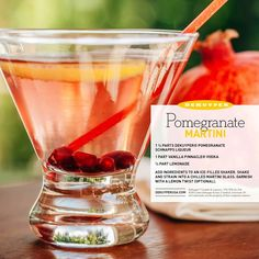 Get engaged over the holidays? A Pomegranate Martini is the perfect cocktail for your bachelorette party. 1 1/2 Parts DeKuyper® Pomegranate Schnapps Liqueur, 1 Part Vanilla Pinnacle® Vodka, 1/2 Part Lemonade. Add to an ice-filled shaker, strain into a martini glass, garnish with a lemon twist.