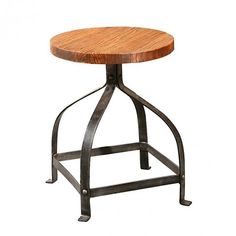 Bleeker Recycled Wood Stool crafted from recycled steel and reclaimed fir wood