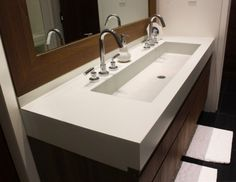 Master Bath Trough Sink Bathroom Large Trough Sink With Double Stainless Steel Taps And