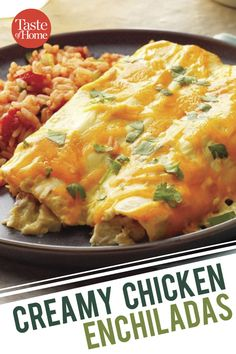Enchiladas The ONLY chicken enchilada recipe you need -- rich, creamy, and delicious.The ONLY chicken enchilada recipe you need -- rich, creamy, and delicious. Healthy Chicken Enchiladas, Chicken Enchilada Bake, Homemade Enchiladas, Enchilada Recipes, Baby Food Recipes, Gourmet Recipes, Cooking Recipes, Drink Recipes, Kitchens