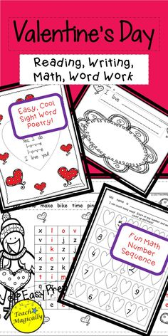 Fun, easy to plan reading, writing, math, and word work with heart theme!  Can be differentiated! Lesson plans included for substitutes, aides, or volunteers.