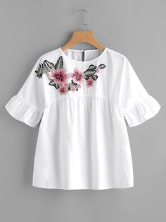 Romwe Embroidered Flower Embellished Ruffle Sleeve Babydoll Top