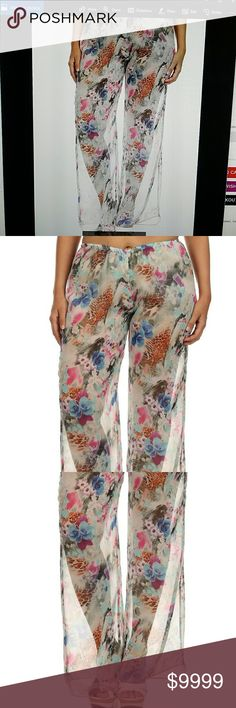 NEW SHEER Plus Floral Chiffon Dressy pants Super cute floral animal print full length pants. These are sheer all the way from top to bottom; model is wearing white booty shorts underneath . Gorgeous floral design with animal print patches. These could also be worn as a bottom bathing suit cover up. Super cute and super lightweight. Could also wear leggings underneath these in the wintertime. Comfy and stretchy elastic waist. 100% polyester Poliana Plus Pants Wide Leg