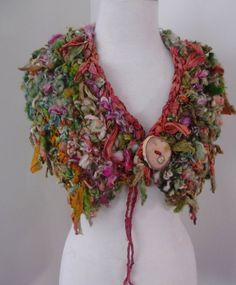 RESERVED FOR WILLO Hand Spun Art Yarn Recycled Sari Silk Collar Scarf Earthy Woodland Shades