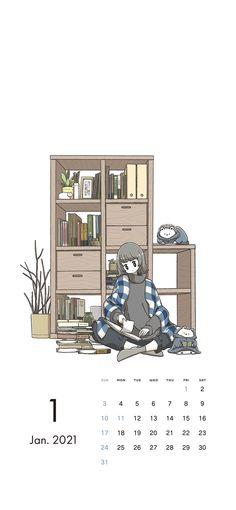 Creative Calendar, Calendar Wallpaper, Anime Art Girl, Balayage Hair, Aesthetic Anime, Cute Wallpapers, Cute Art, Aesthetic Wallpapers, Bullet Journal