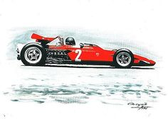 1970 Ferrari 312 B,  Jacky Ickx,  Clay Regazzoni.  Ferrari F1 collection ART by Artem Oleynik. This collection demonstrating Ferrari F1 racing cars since 1950 to 2016 and includes 96 pictures in oil on canvas. The size of each original picture is 25 x 35 cm.