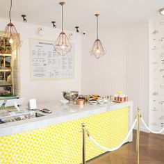 Inside Bel-Air all is pleasant and bright year-round, with white surfaces accented with a sunny yellow geometric pattern. The addition of quirky pop culture line drawings to the walls and elsewhere bring even more Californian flavour to the party...