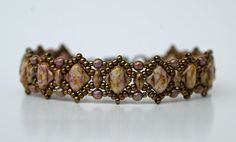 Handmade Beaded Lilac Gold Silky bracelet by craftybeadcollection