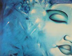 Quadro olio su tela pittura originale  volto blue turchese trascendenza
