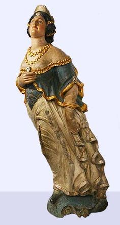 19th Century carved and painted wooden ship's figurehead from the North American bark EDINBURGH.  http://www.westsea.com/tsg3/hotelocker/hotelchart.htm