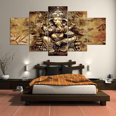 Limited Edition Ganesha Harmony Canvas Painting Large inches) with 5 Panels sized at and Home Decor Hooks, The Mahabharata, Ganesha Painting, Living Spaces, Living Room, Elephant Head, Hindu Deities, New Theme, Canvas Pictures