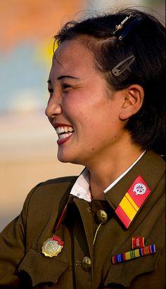 Smiling soldier North Korea
