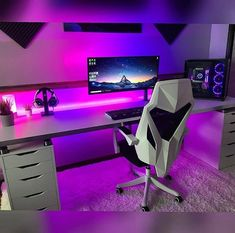 33 Fun Video Game Room Design Ideas For Gamer's Vibe - Elevatedroom Best Computer Chairs, Computer Gaming Room, Gaming Desk Setup, Computer Setup, Gamer Setup, Gaming Rooms, Pc Desk, Pc Setup, Gaming Desktops
