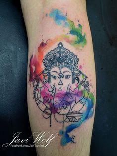 Watercolor Ganesha Tattoo.Tattooed by javiwolfinkwww.javiwolf.com