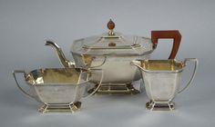 3-tlg. TeeserviceEngland, Birmingham, Adie Brothers Ltd., 1951, 925 Silber, Teekanne, Milchkännchen — Silber