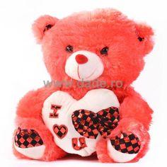 Ursulet de plus rouge D-24-big Teddy Bear, Toys, Animals, Activity Toys, Animales, Animaux, Clearance Toys, Teddy Bears, Animal