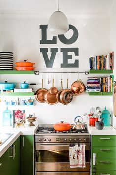 """Feed your fire. Alchemy in the kitchen"" Invite color into your kitchen space. LOVE kitchen / photographed by Adrian Louw"