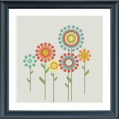 Un moderno flores punto de cruz patrón de estilo retro. Encaja en un aro de bordar de 8 pulgadas (14 cuenta). Comprar 4 patrones y Obtén 25% de