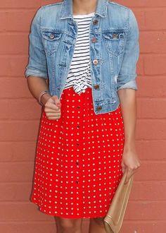 Summer Essentials - Backyard BBQ wearing American Eagle denim jacket, F21 striped t-shirt, Madewell dress and H clutch.